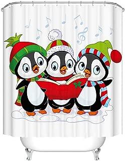 Fangkun Children's Shower Curtain Art Bathroom Decor - 3 Cartoon Penguin Design - Waterproof Polyester Fabric Bath Curtains Set - 12pcs Shower Hooks - 72 x 72 inches