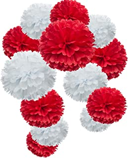 Red Paper Flower Tissue Pom Poms Party Supplies (red,white,12pc)