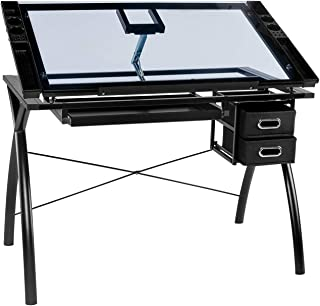 BAHOM Adjustable Drafting Table Glass Top, Art Drawing Craft Desk with 2 Drawers, Perfect for Artwork and Design, Black