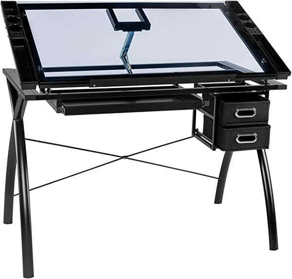 BAHOM Adjustable Drafting Table Glass Top Art Drawing Craft Desk With 2 Drawers Perfect For Artwork And Design Black