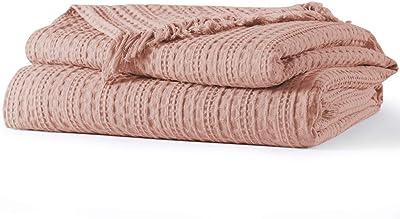 100/% Cotton Luxury Waffle Weave Dusky Blush Pink Fringed Blanket Throw Soft