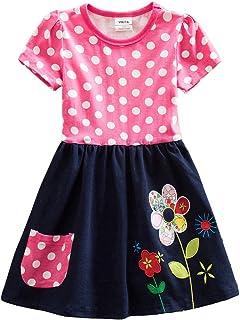(ニート) NEAT 子供ドレス ガールズ 可愛い 半袖 カジュアル ドレス コットン ワンピース 3-8歳