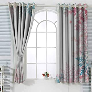 Mozenou Winter Grommet Bedroom partition Curtain Abstract Winter Inspired Snowflake Design with Soft Color Palette Image Household Darkening Curtains 55
