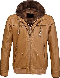 PWYXSA Men's Casual Hooded Long Sleeve Zip Up Vintage PU Faux Leather Jacket Windbreaker Motor Bomber Jacket Coat