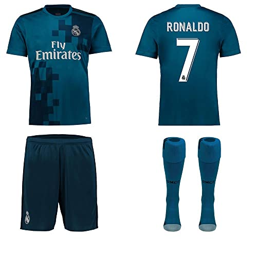 0abbb9d11 Real Madrid NB Ronaldo Bale Benzema Ramos 2017 2018 17 18 Kid Youth REPLICA  Third Jersey