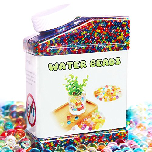 Elongdi Water Beads Pack Rainbow Mix Over 50,000 Beads Growing Balls, Jelly Water Gel Beads for Spa Refill, Kids Sensory Toys, Vases, Plant, Wedding and Home Decor
