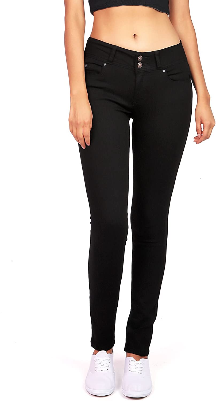 Wax Women's Juniors Stretchy MidRise Skinny Jeans w Flattering Fit