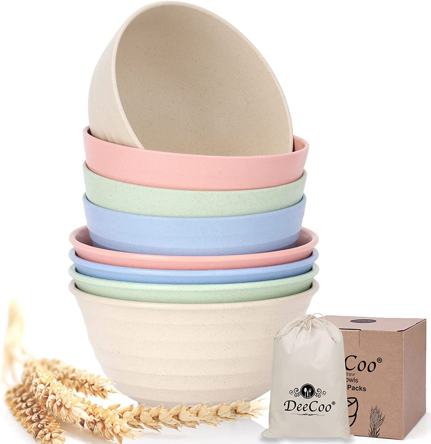 DeeCoo Mixed Size discount Unbreakable Cereal Bowls Gifts 24 30 OZ Wheat Str -