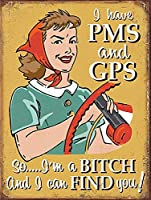 私はPMSとGPSのブリキのサインを持っていますヴィンテージ面白い生き物鉄の絵の金属板人格ノベルティ