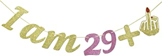 I Am 29 +1 Middle Finger Glitter Garland Banner, 30th Birthday Gifts for Women, Funny 30th Birthday Party Party Supplies (Gold & Pink)