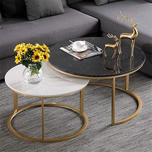 Living room table with metal frame Set Of 2 Metal Side Table Marble Coffee End Side Table Couch Table End Table Sofa Table Nesting Coffee Table For Living Room Bedroom