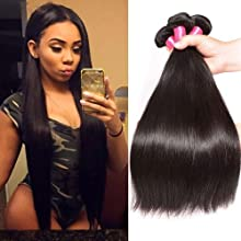 Malaysian Straight Hair 3 Bundles 10A 100% Unprocessed Remy Human Hair Bundles Weave Natural Color 95-100g/pc Mixed Length (20 22 24, Natural color)