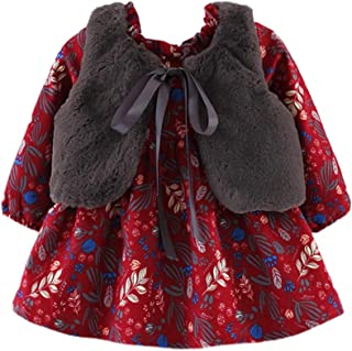 Xifamniy Baby Girls 2pcs Clothes Sets Autumn&Spring Floral Dress&Vest Shawl