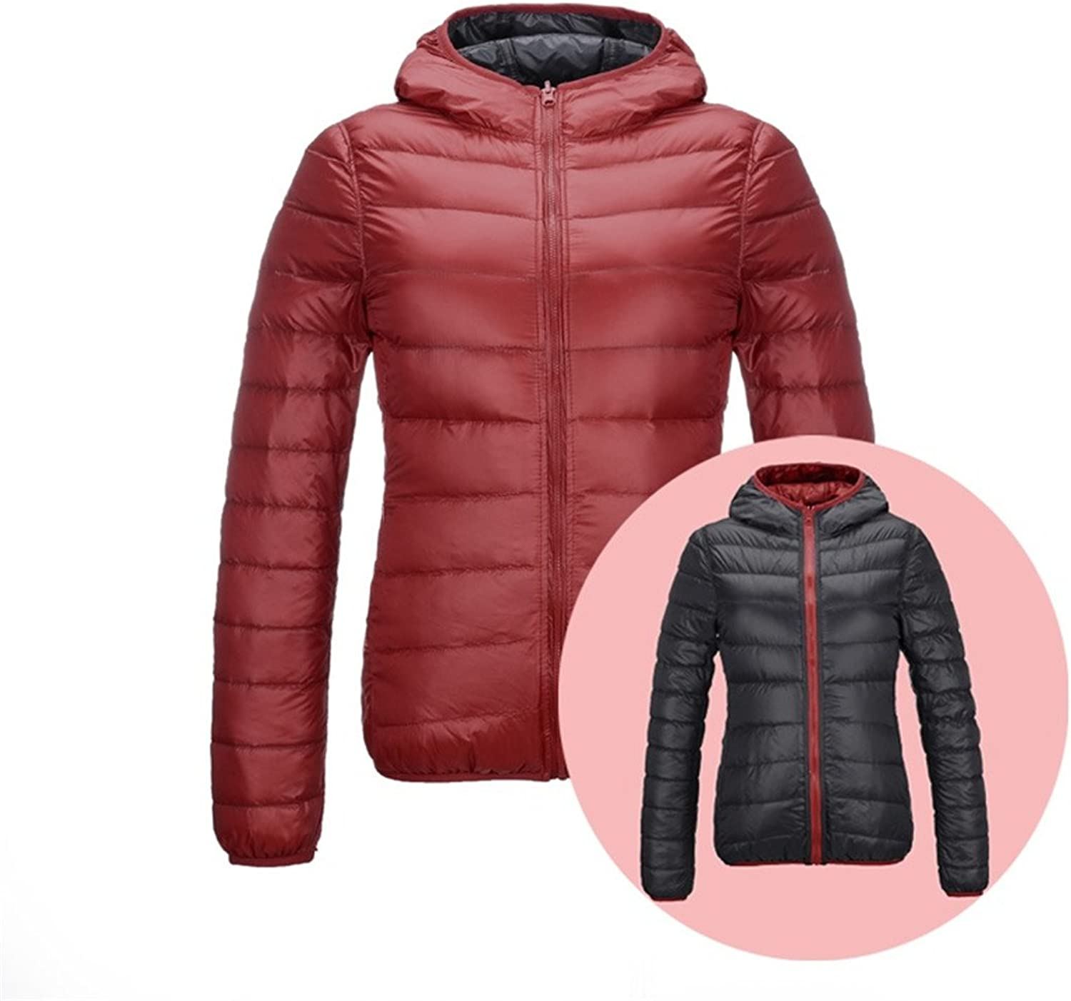 Basieng Women's UltraThin Down Jacket DoubleSided Reversible Jacket