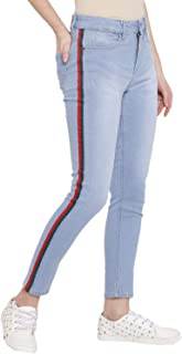 Lady Stark Women's Wear Solid Ligth Blue Skinny Jeans with Red and Green Side Lace