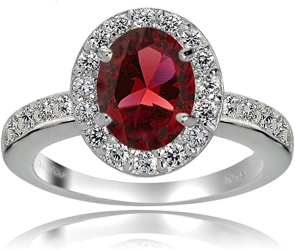 Ice Gems Sterling Silver Created Ruby Oval Bombing free shipping Manufacturer direct delivery Topaz White and Halo