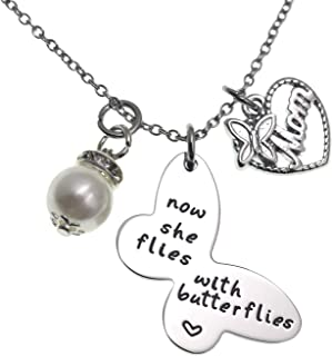 LParkin Sympathy Gift Butterfly Necklace Now She Flies with Butterflies Memory Necklace in Memory of Necklaces Remembrance Gift for Loss of a Loved One Butterfly Jewelry