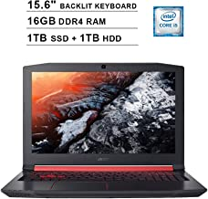 2019 Acer Nitro 5 AN515 15.6 Inch FHD Gaming Laptop (Intel Quad Core i5-8300H up to 4.0GHz, 16GB DDR4 RAM, 1TB SSD + 1TB HDD, NVIDIA GeForce GTX 1050 Ti, Backlit Keyboard, Windows 10) (Shale Black)