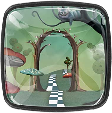 Square Cabinet Knobs Alice in Wonderland Landscape with Magic Passage and Cheshire Cat Watching Scene On Tree Branch Kitchen