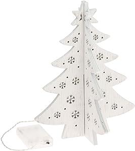 Albero a Croce in Legno h 28 cm, 12 LED Bianco Caldo, Batteria
