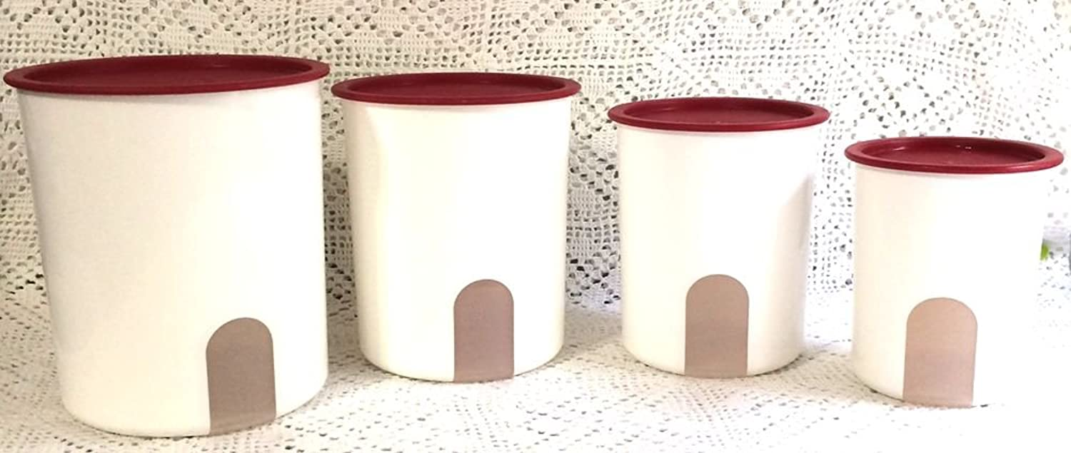 Tupperware One Touch Reminder Canister Set Red Seal