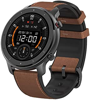 Amazfit - GTR Smartwatch 47mm - Aluminum Alloy With Brown Leather Strap - 24 Days battery