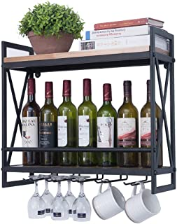 Industrial Wine Racks Wall Mounted with 5 Stem Glass Holder,23.6in Rustic Metal Hanging Wine Holder Wine Accessories,2-Tiers Wall Mount Bottle Holder Glass Rack,Wood Shelves Wall Shelf Home Decor