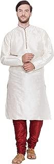 SKAVIJ Men's Tunic Art Silk Kurta Pajama Set Indian Wedding Dress