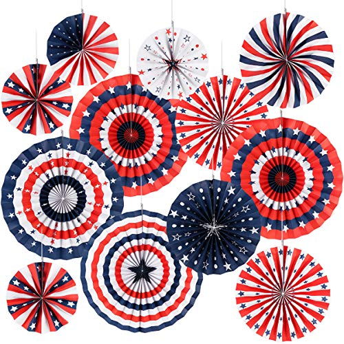 4th of July Decorations Paper Fan for Patriotic Decorations Veterans Day Party, Independence Day...