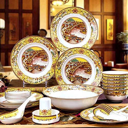 Bone China Servisuppsättning, Porslin Fine Bone China Kitchen Dining Dinner Round Tableware Combi-Set med spannmålsskålar Dessert Soppplattor Diskar Mikrovågsugn (28 stycken service för 6 pe