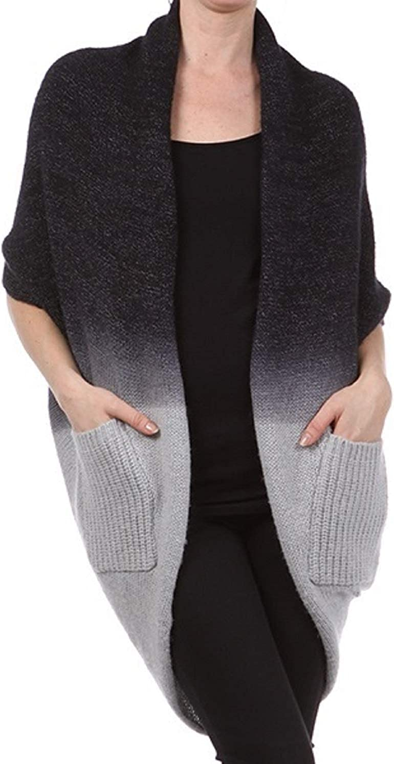 m. rena Women's Open Ombre Cocoon Cardigan W/Pockets (Black, Large)