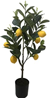 Home Artificial Lemon Fruits Tree Indoor Decorative Lifelike Potted Plant Fake Yellow Lemons in Plastic Planter 24