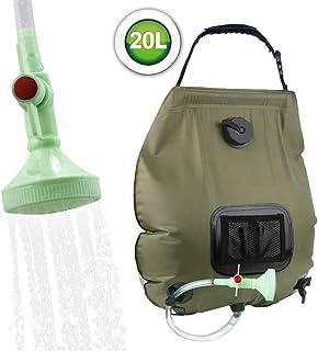 Saco de chuveiro solar Fdrirect, 5 galões / 20L de aquecimento solar saco de chuveiro de acampamento com mangueira removív...