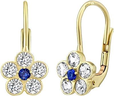 SILVEGO - SILVEGO70530B - Boucles d'Oreilles Femme - Or Jaune 585/1000 - Fleur avec Naturel Topaz Swarovski® Gemstones