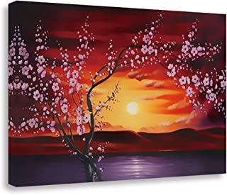 GEVES Cherry Blossom Wall Art Sakura Floral Canvas Prints Contemporary Paintings Pictures for Bedroom Living Room Framed Ready to Hang Home Decor