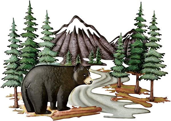 Collections Etc Black Bear Woodlands Scene Metal Wall Art To Give A Northwood S Feel To Any Room