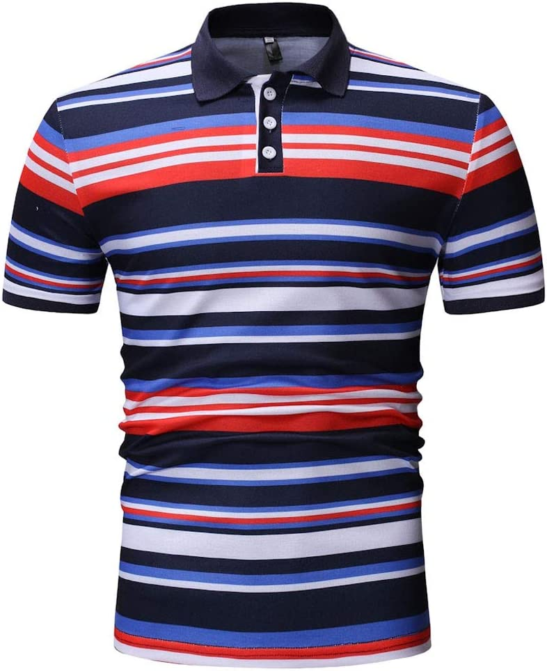 T Shirts for Men, Easytoy Mens Polo Shirts Button Short Sleeve Patchwork Slim Tees Tops Blouse (Black A, US:S=Tag:M)