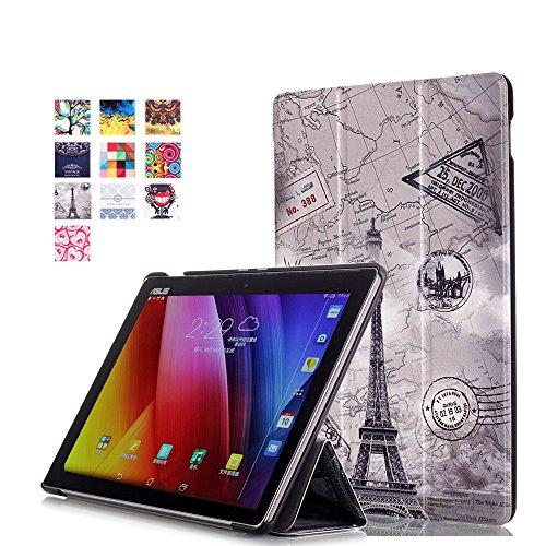 WindTeco ASUS ZenPad 10 Hülle, Ultra Dünn Leder Schutzhülle mit Auto Aufwachen/Schlaf Funktion für ASUS Zenpad 10 Z301MFL / Z2301ML / Z300M / Z300C / Z300CG / Z300CL Tablet, Karte Turm