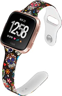 Allbingo Thin Bands Compatible with Fitbit Versa/Versa 2/Lite/SE,Cute Slim Women Feminine Narrow Floral Print Replacement Strap Accessories Silicone Wrist Band Small Large (Sugar Skull, Large)