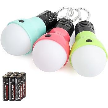 Yizhet 2 Pack Tent LED Light Camping Lantern Lamp Emergency Light Waterproof Portable Bulb for Outdoor Hiking//Fishing//Hunting Mountaineering Green+Orange