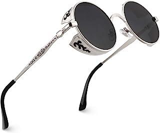 CGID E71 Polarizzate Occhiali da Sole da Donna Retro Stile Steampunk Rotondi in Metallo