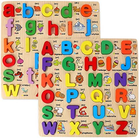 Wooden Puzzles for Toddlers 2 Pack Chunky Wooden Peg Board Alphabet Puzzles with Colorful Fruit product image