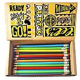 150 Lápices Premium Fáciles de Afilar con Goma. Incluye una Resistente Caja de Cartón para Almacenamiento. Pack de Suministros de Oficina Partituki