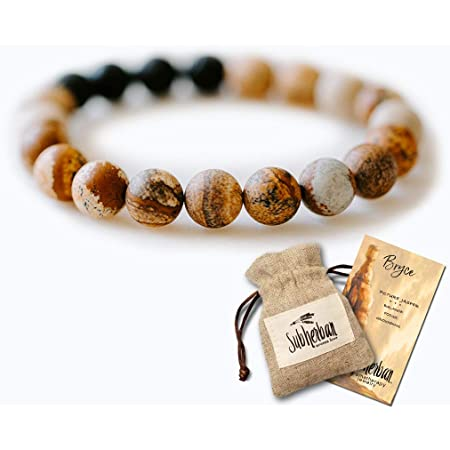 Subherban Aromatherapy Bracelet for Men - Handmade in the USA - BRYCE Lava Stone Anxiety Bracelet - Essential Oils Jewelry - Gifts for Men