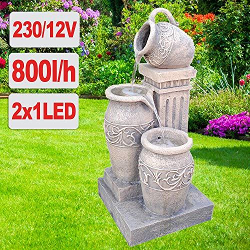 profi-pumpe.de Gartenbrunnen Brunnen Zierbrunnen Zimmerbrunnen Springbrunnen Brunnen mit LED-Licht 230V Wasserfall Wasserspiel für Garten, Gartenteich, Terrasse, Balkon Sehr Dekorativ