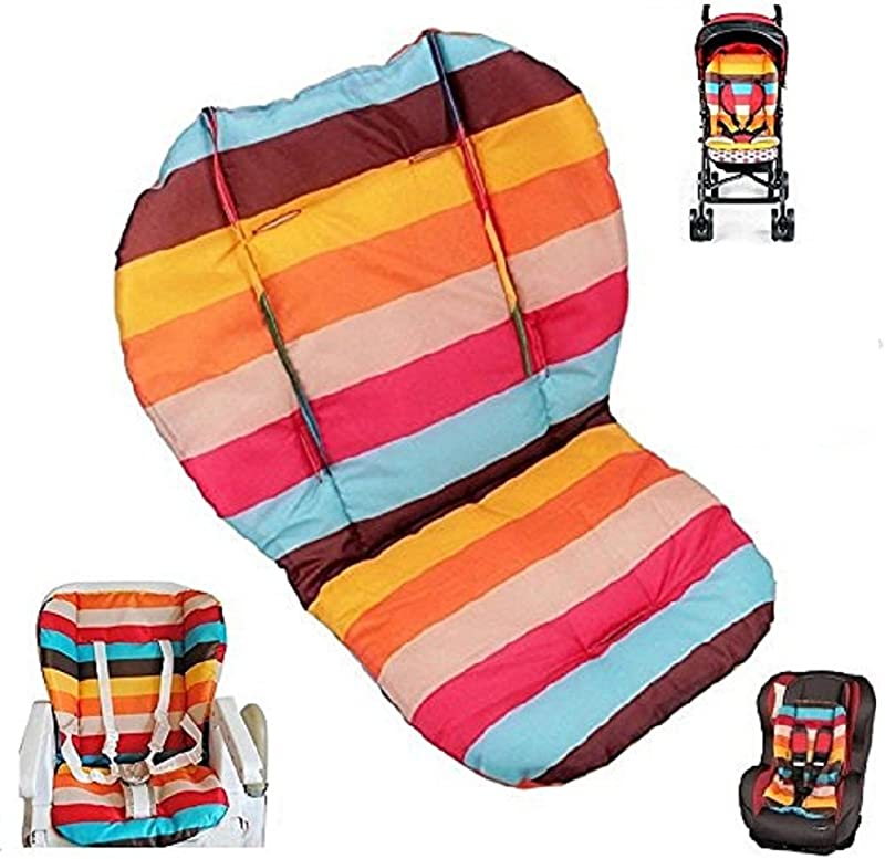 Twoworld Baby Stroller Car High Chair Seat Cushion Liner Mat Pad Cover Protector Rainbow Striped Water Resistant