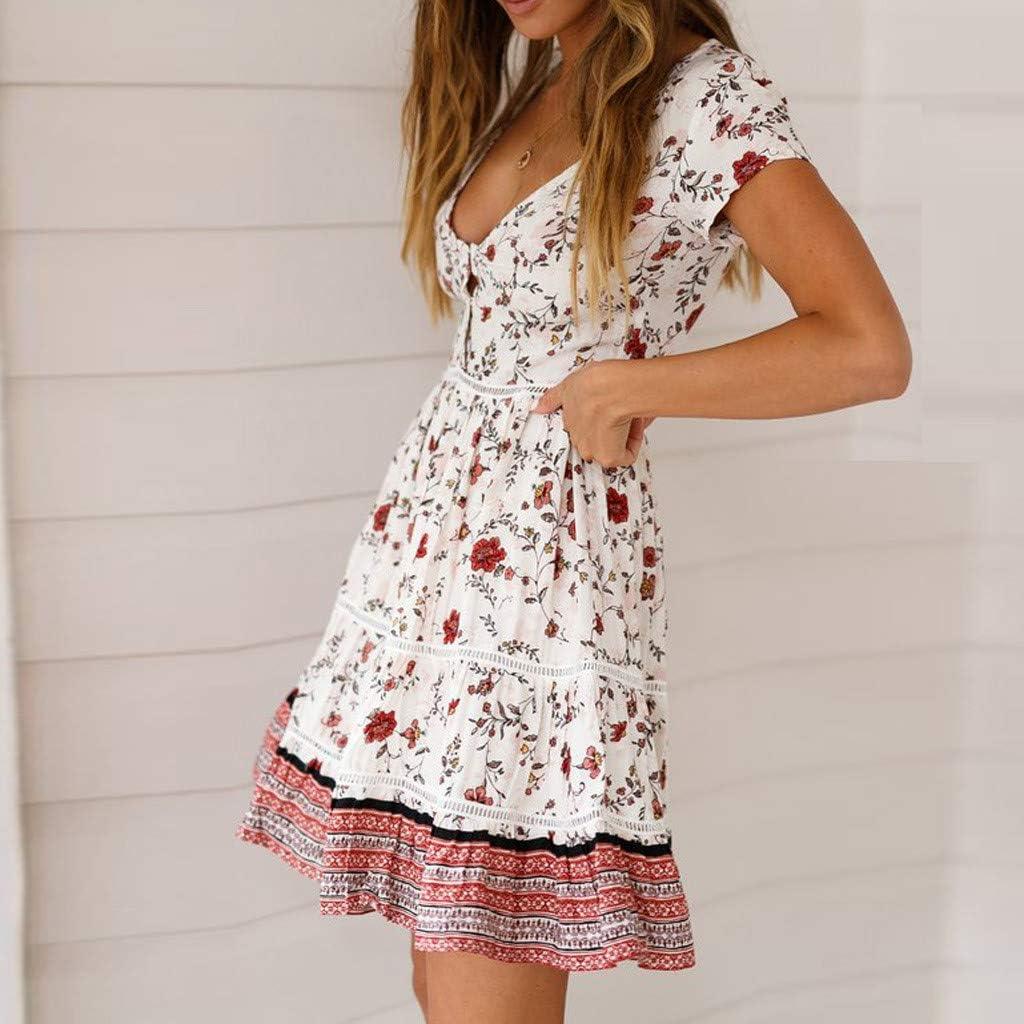 TWIFER Boho Floral Maxi Abend Party Cocktail Kleid Damen Minikleid Sommerkleid B-weiß