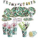 Dreamjing Vaisselle Vert Jungle Party - Assiette Carton Gobelet Paille Serviette en Papier Bannière pour Fête d'été Tropicale Hawaiian Luau Décoration d'anniversaire Tropical Baby Shower