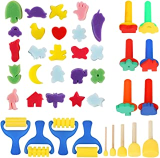 39pcs Sponge Paint Brush, YGDZ Early Learning Kids Painting Sponge Brushes Set, Washable Mini Flower Craft Painting Drawing Tools for Kids Toddlers Art Supplies Gifts