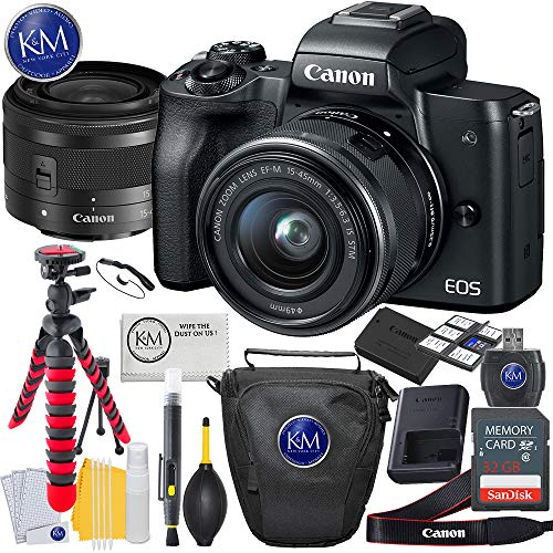 Canon EOS M50 Mirrorless Camera w/15-45mm (Black) + 32GB + K&M Essential Photo Bundle